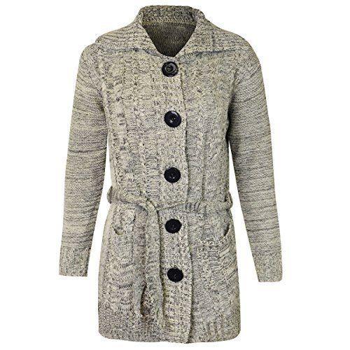 6bdea8b28997b4 Womens Ladies Grandad Cardigan Long Sleeve Belted Button Chunky Knitted  Jumper  mirarenzi