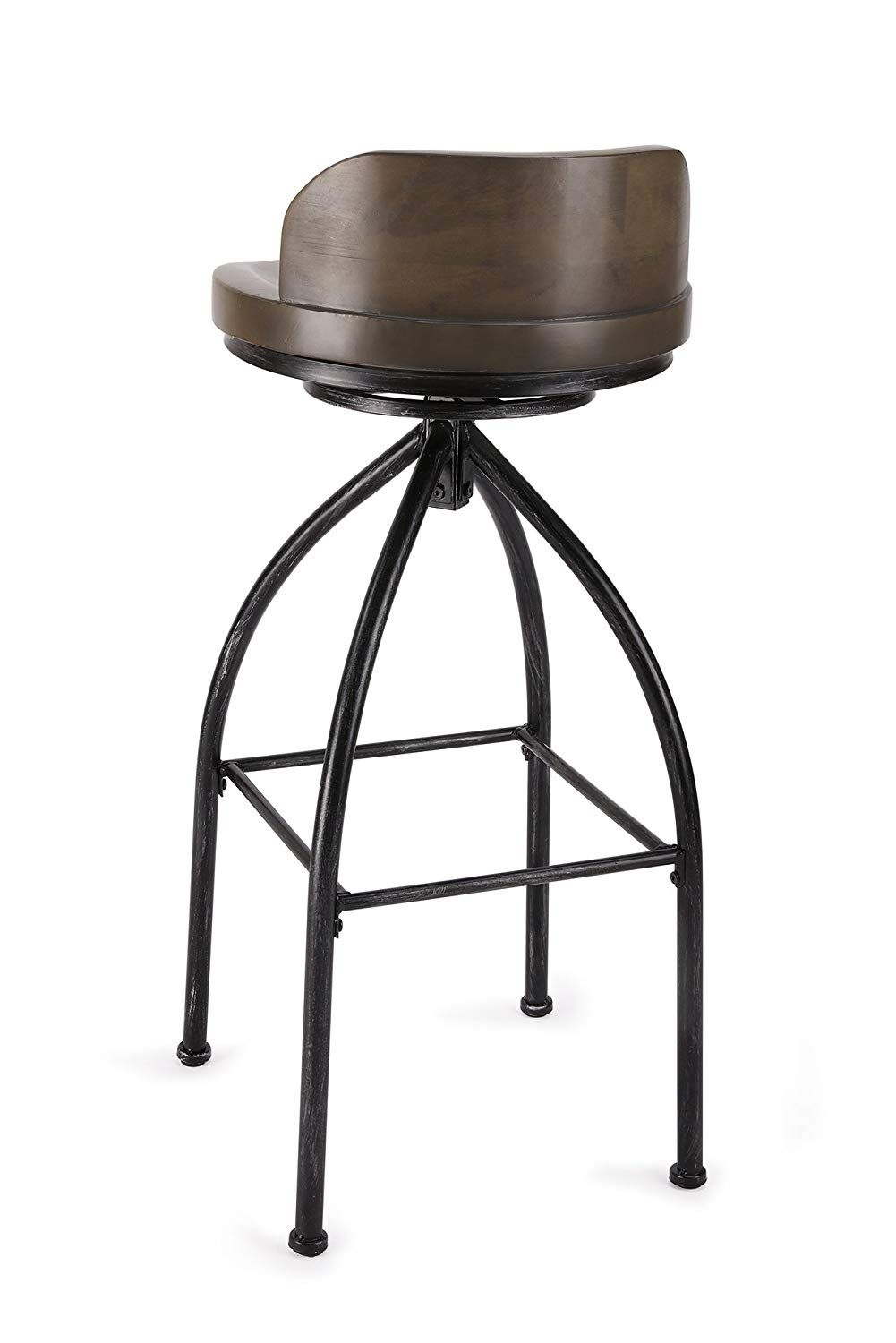 Fivegiven Rustic Industrial Bar Stools 30 Inch Bar Stool With Back Swivel Bar Height Wood And Metal Brown Stools With Backs Swivel Bar Stools Bar Stools