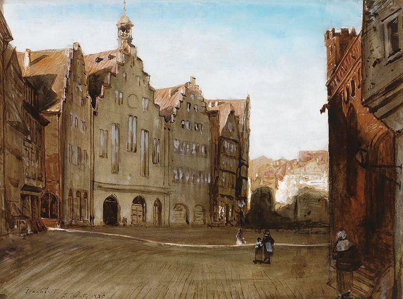 """Frankfurt am Main, """"Straßenbild und Römer"""", 1880. Gouache. 22,5 x 30,5 cm  Datum19th/20th century Quellehttp://www.zeller.de/ Urheber Lou..."""