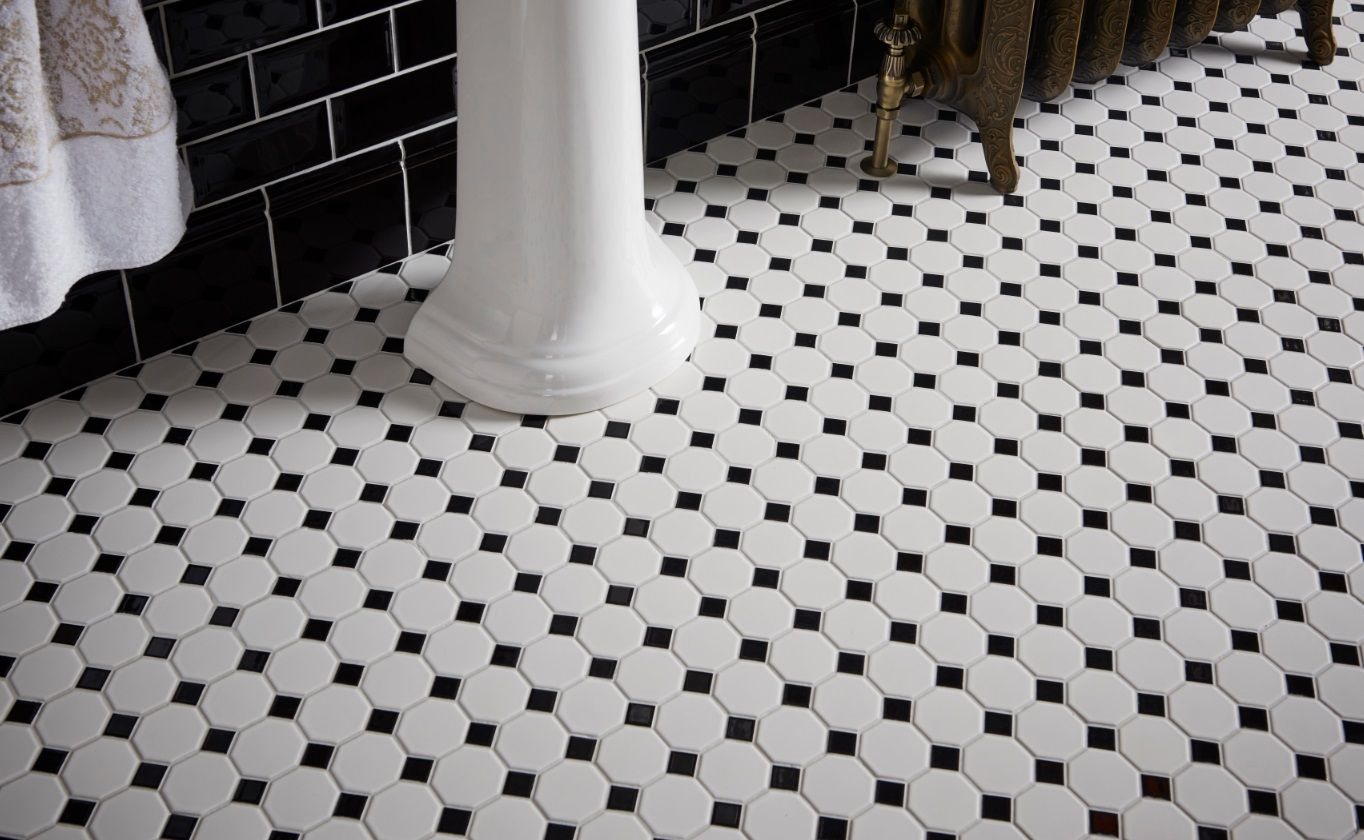 Black And White Octagonal Mosaic Floor For A Classical Look Mosaicmonday Classicbathroom Bathroomg Mosaic Bathroom Tile Octagon Mosaic Tile Mosaic Flooring