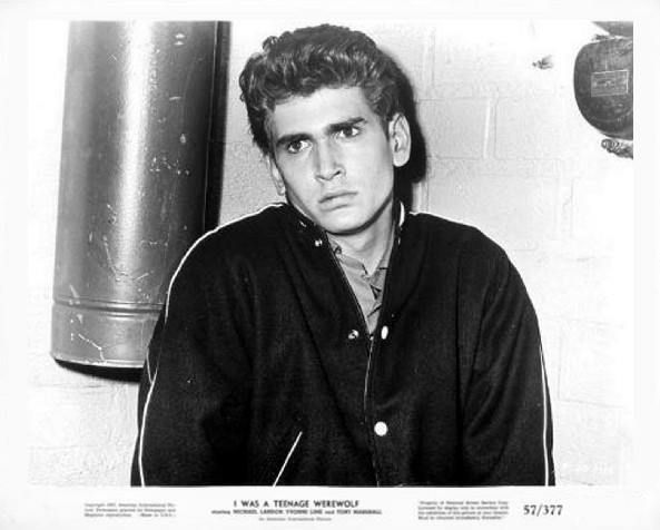 "A vintage press shot of TV legend ""Michael Landon"" for the 1957 AIP horror classic, I WAS A TEENAGE WEREWOLF"
