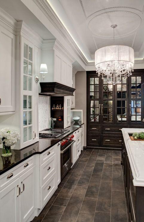 Mix Of Dark Trim White Kitchen Contemporary Kitchen Kitchen Inspirations Sweet Home
