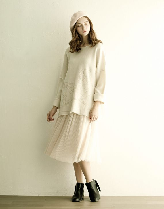 LOVFEE - 氣質細褶紗裙