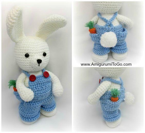 Le vêtement de travail pour la robe de lapin Me Boy Vêtements ~ Amigurumi To Go