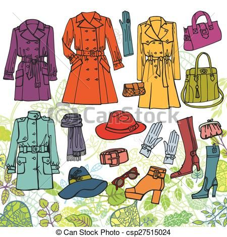ff33c2d436e5 Vector - Fashion clothes set.Spring woman wear, green leaves - stock  illustration, royalty free illustrations, stock clip art icon, stock  clipart icons, ...