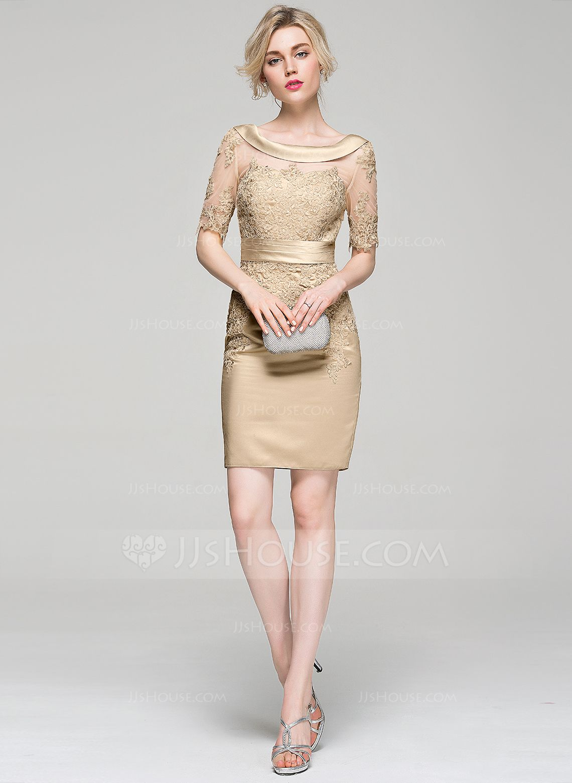 Sheath/Column Scoop Neck Knee-Length Ruffle Appliques Lace Zipper Up Sleeves 1/2 Sleeves No 2016 Champagne Winter Spring Summer Fall General Plus Satin Cocktail Dress