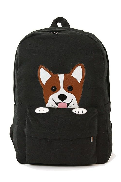 2e83fe82e865 Peeking Pup Corgi Dog Canvas Backpack
