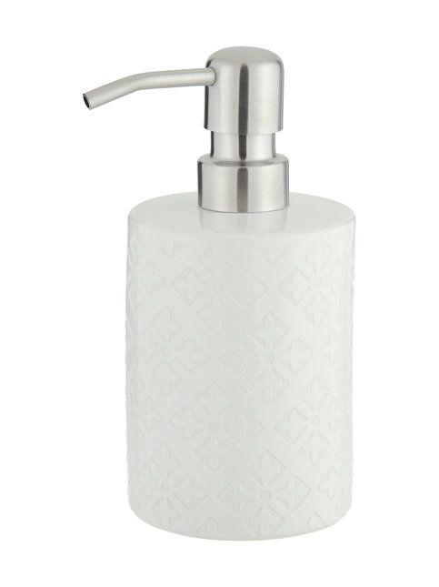 Tyylikäs kuvioitu saippuapumppupullo on materiaaliltaan keramiikkaa. Pullon korkeus on 16,5 cm ja halkaisija 8 cm.