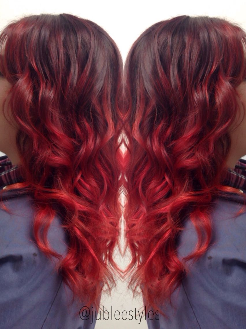 Intense Red Balayage Driven Ombr Hair Color And Quick Curls Done By