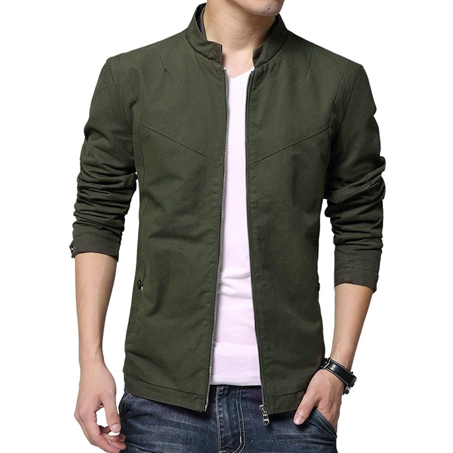Men S Casual Stand Collar Cotton Jacket Coat Outerwear Army Green Cc17yteomad Mens Outerwear Jacket Mens Outfits Cotton Jacket [ 1500 x 1500 Pixel ]