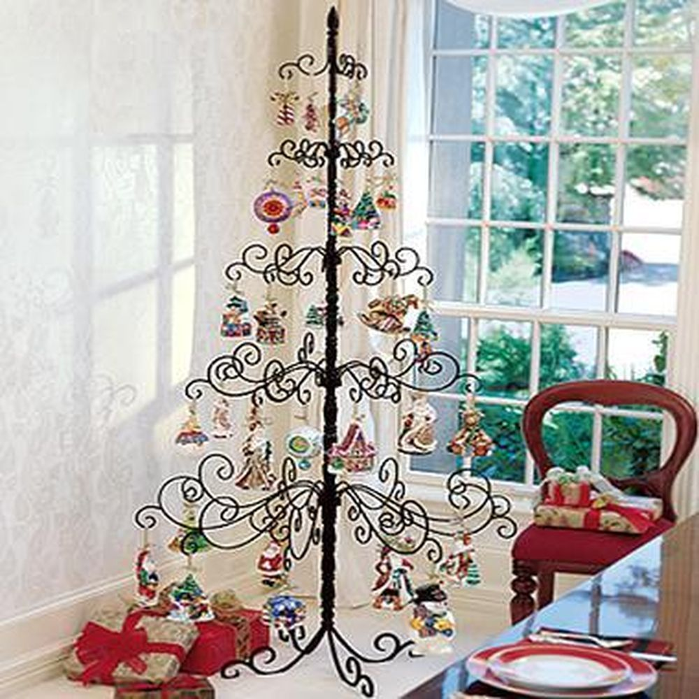 Wrought Iron Christmas Tree Wire Metal Holder Stand For Holiday