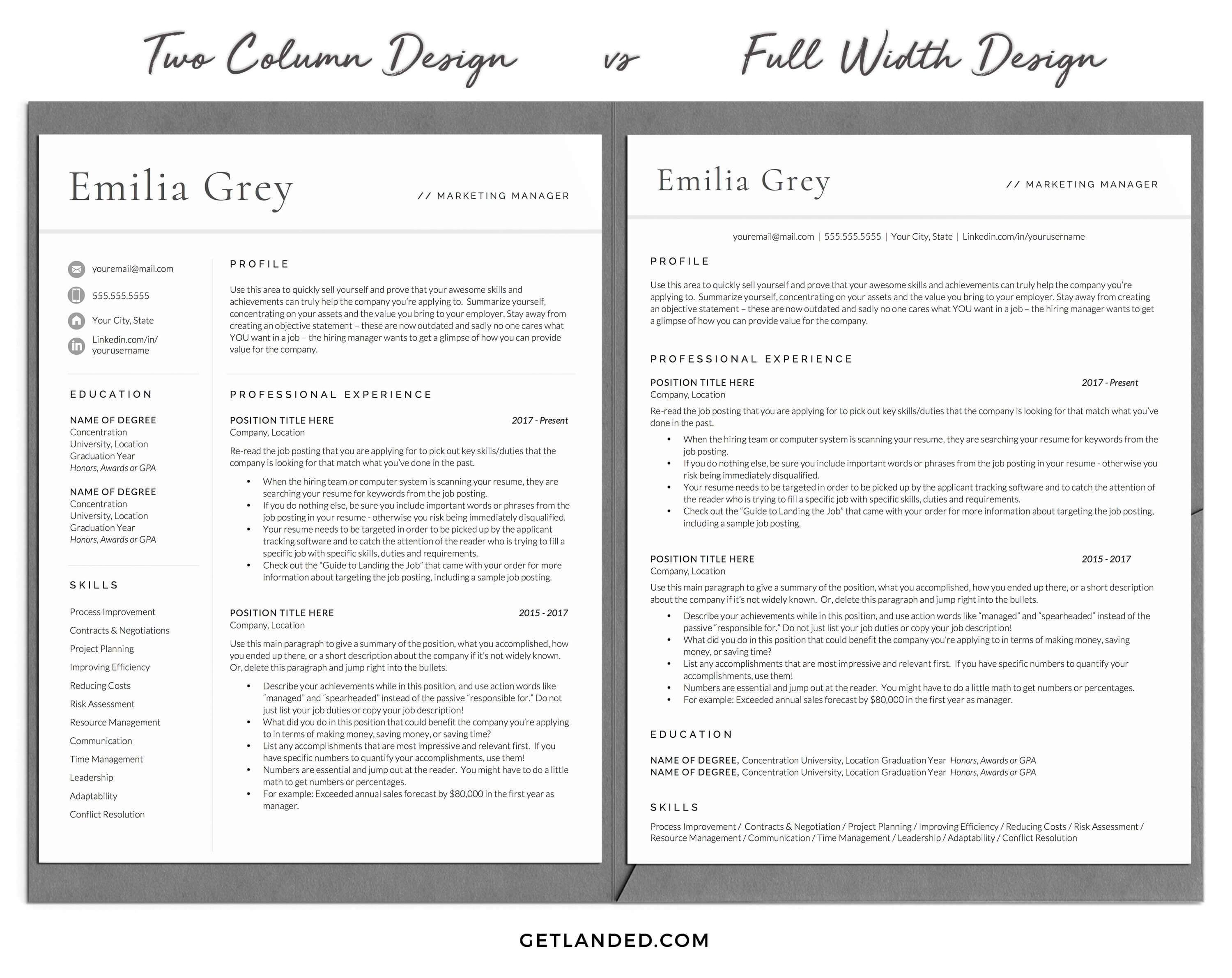 Modern Resume Template, Professional CV Template The
