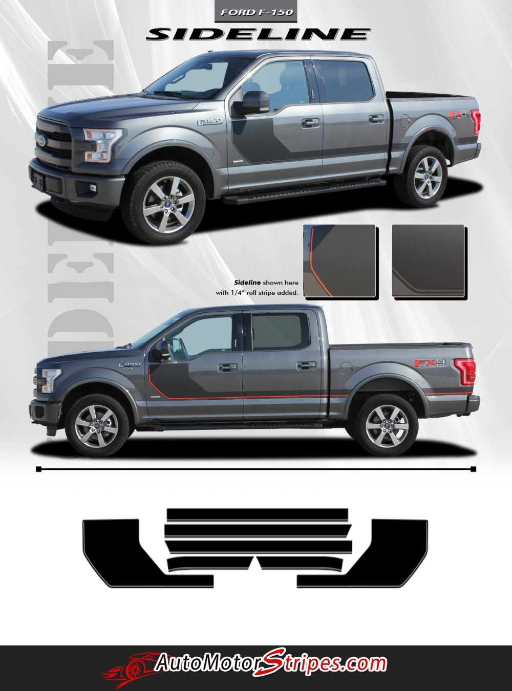 2015 2016 Ford F 150 Sideline Special Edition Appearance Package Style Hockey Stripe Vinyl Decal 3m Graphic Ford F150 Vinyl Graphics Ford