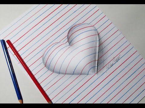 Como Desenhar Coração 3d Passo A Passo Youtube 3d Art