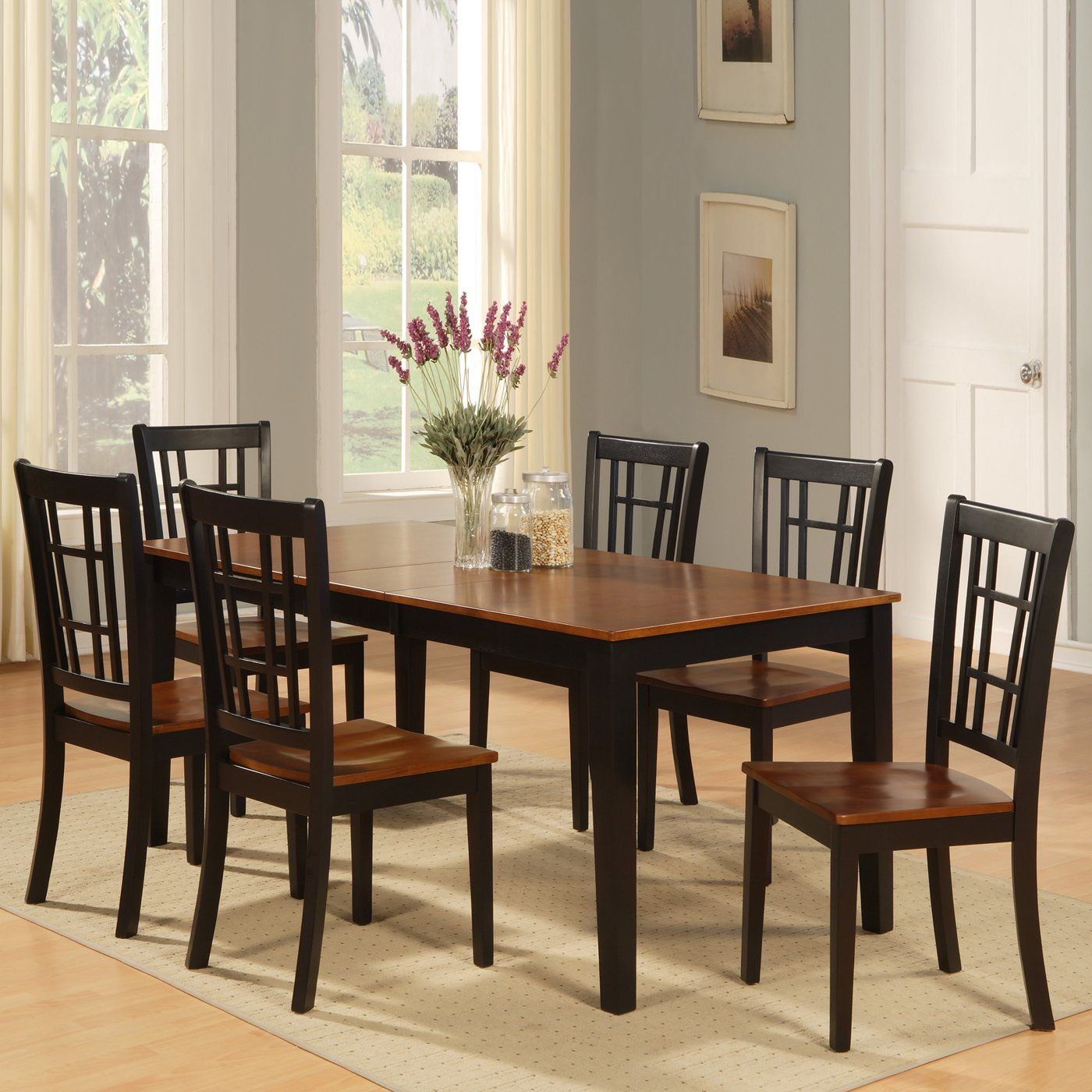 East west furniture nicoli rectangular table dining set for our