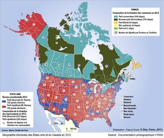 Gographie lectorale des tatsUnis et du Canada en 2012 USA dans