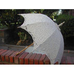 ECRU Battenburg Lace Umbrella - Vintage Reproduction