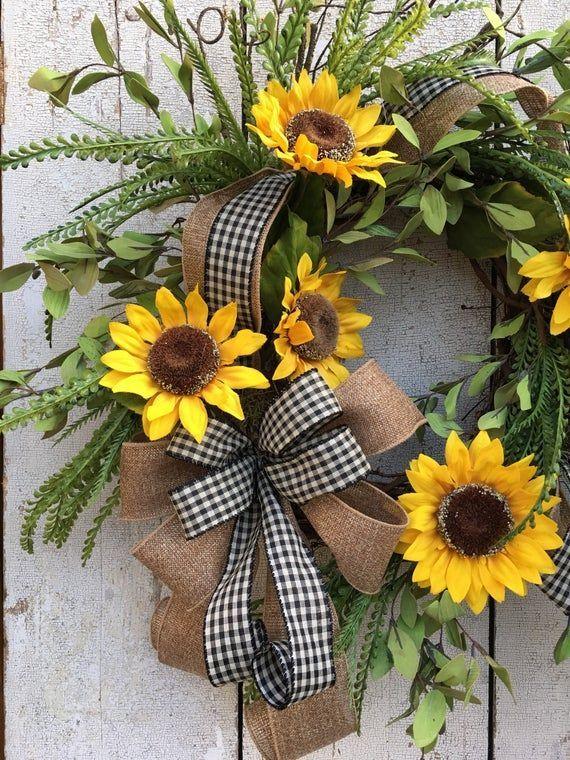 Photo of Herbst Sonnenblumenkränze, Sommerkränze für Haustür, Doppeltürkranz, Ganzja…