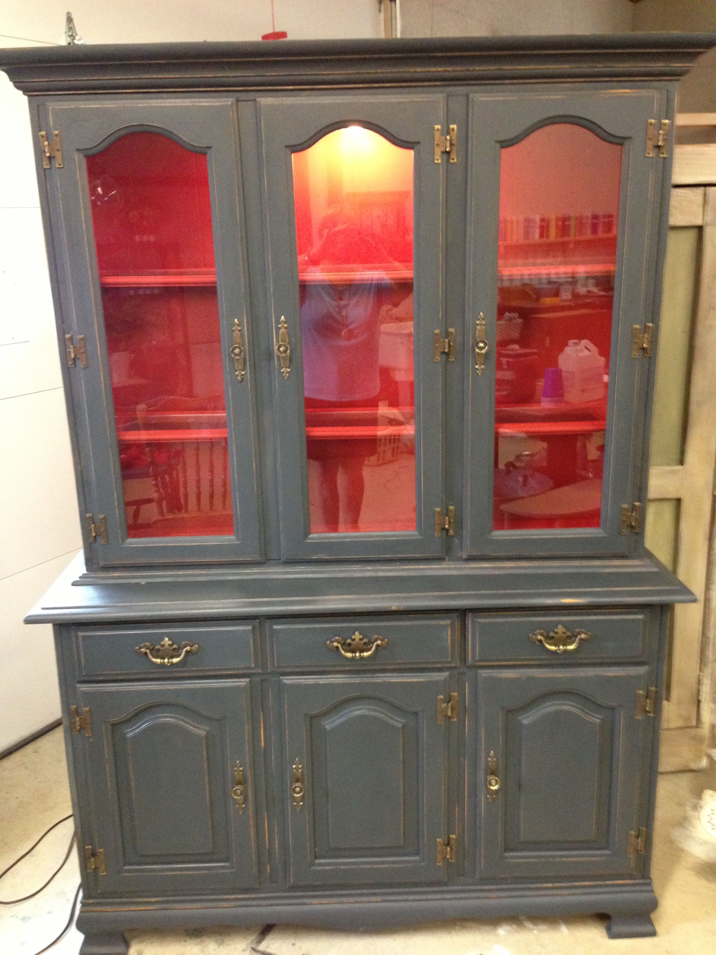 Graphite and emperors silk painted hutch painted furniture