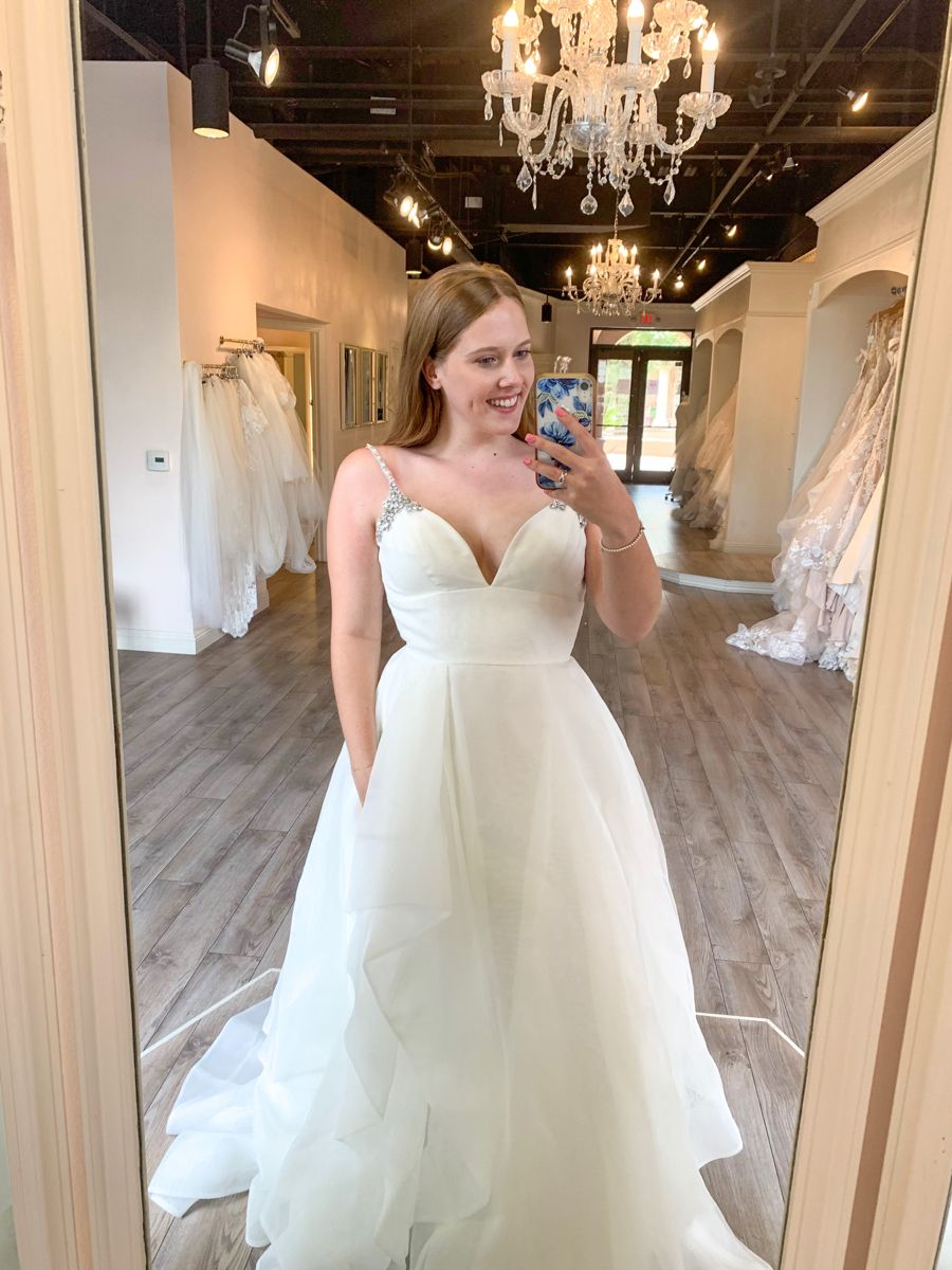 Ivory Organza Ballgown with Opal and Rhinestone Straps