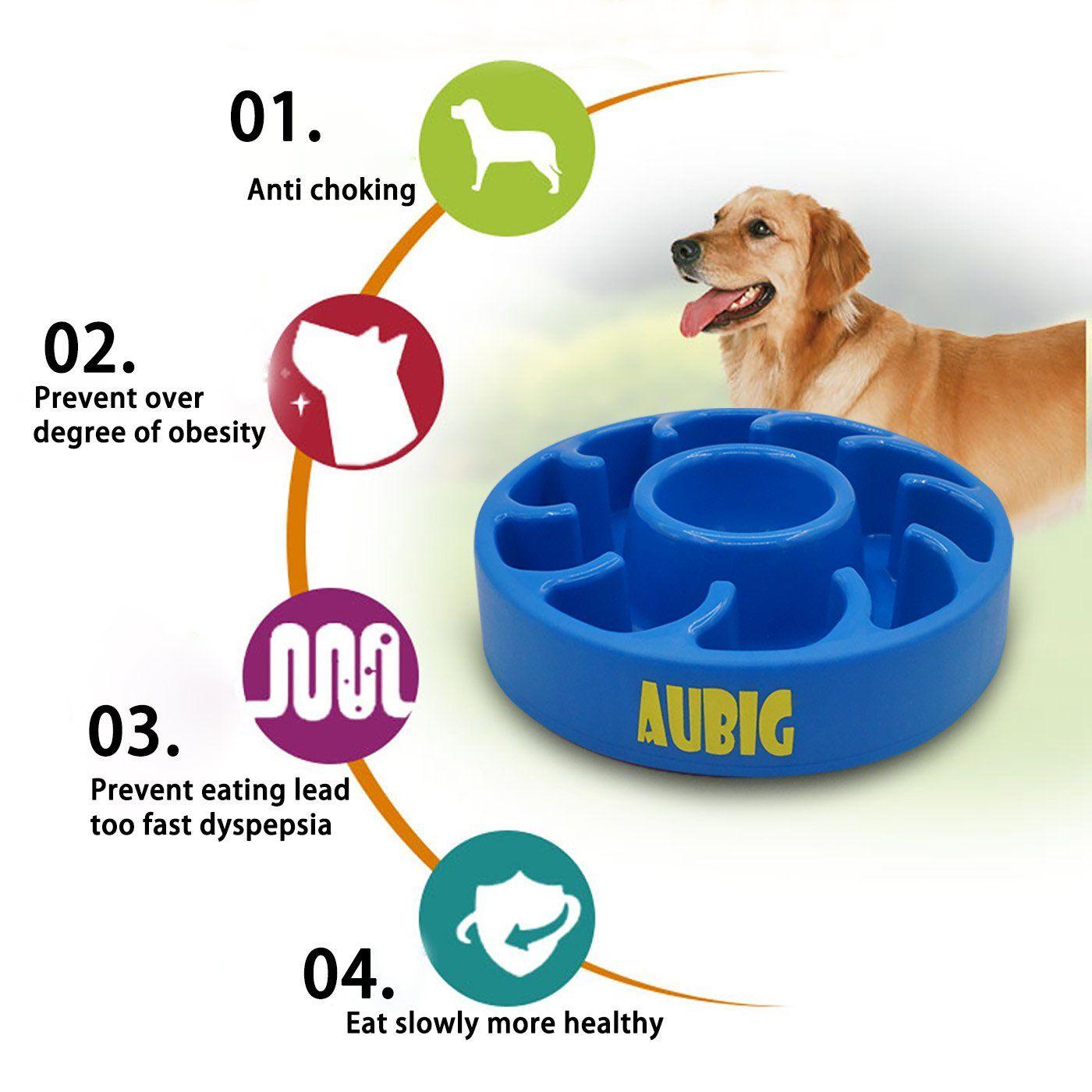 Aubig Slow Feeder Bowl Pet Fun Feeder Dog Bowl Antichoke Bloat