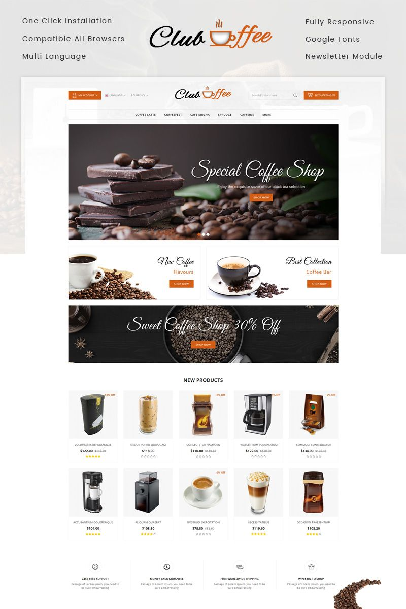 821b5dce9565 Club Coffee Shop OpenCart Template  OpenCart  Coffee  Club  Shop. Find this  Pin and more on Kids Fashion Websites ...
