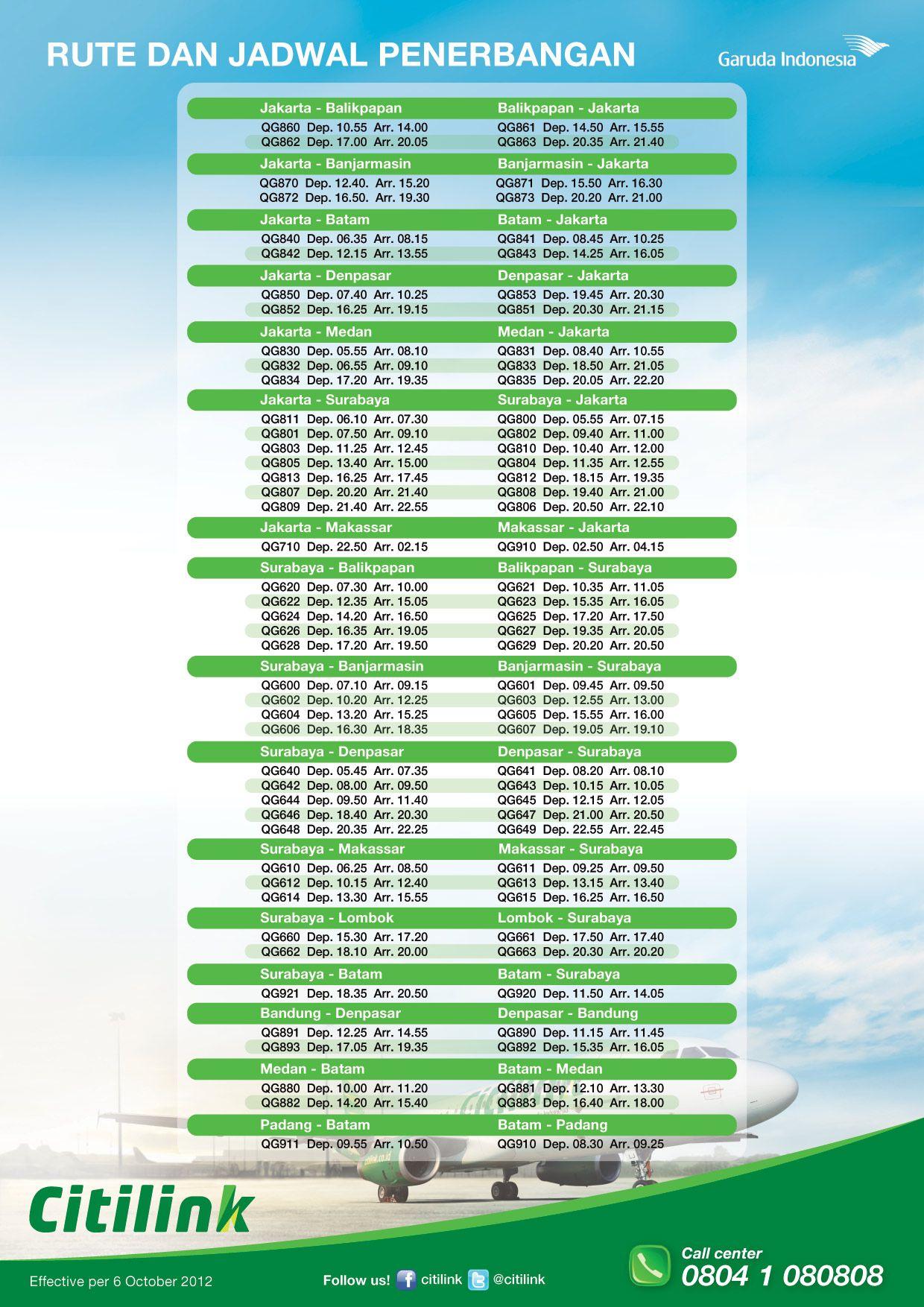 Rute dan Jadwal Penerbangan Effective per 6 Oktober 2012