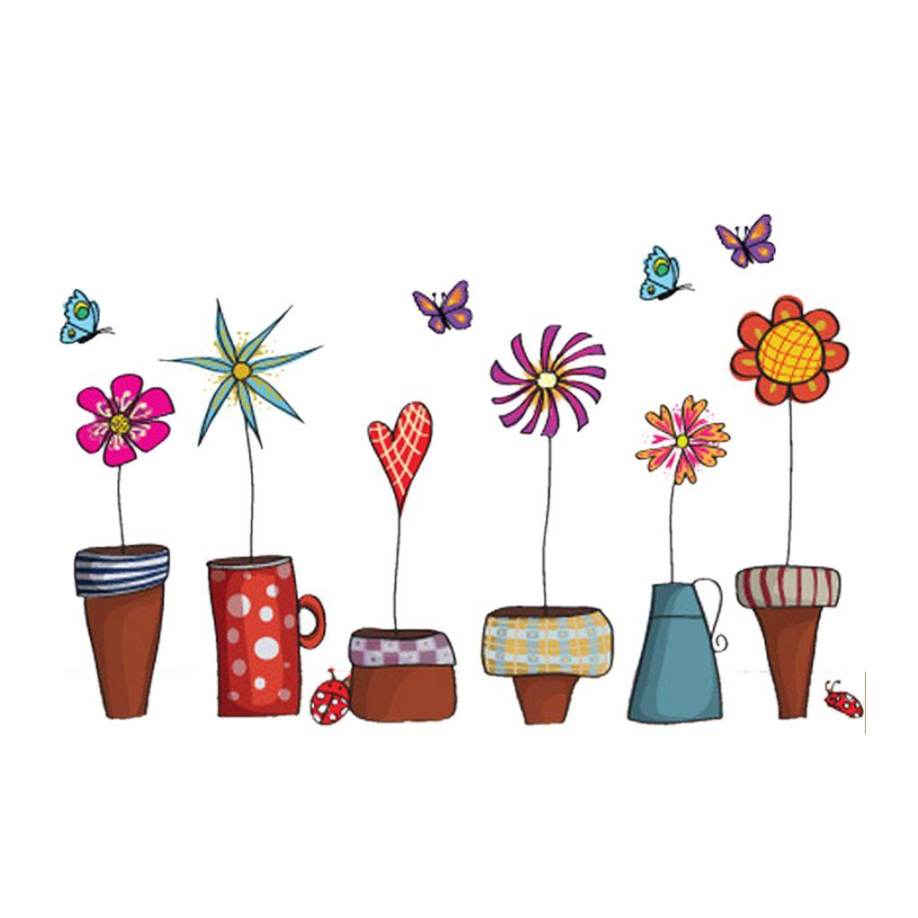 Beautiful Cartoon Flower Butterfly Wall Stickers Diy Decal Window