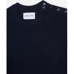 Photo of The Kooples – Rubber logo midnight blue rib knit sweater – Damenthekooples.com
