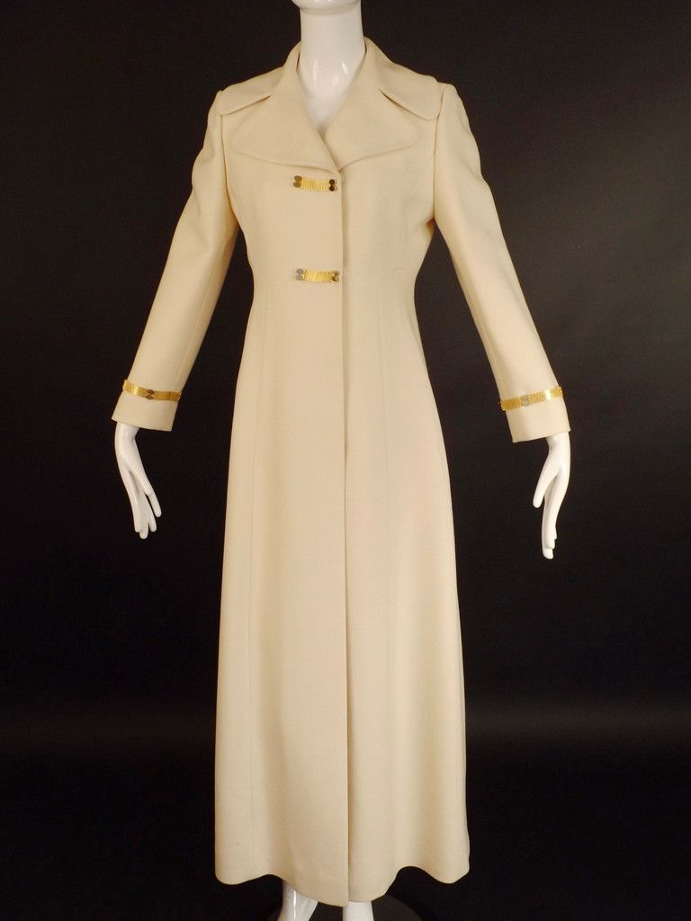 1960s Ivory Wool Evening Coat, Bust-34