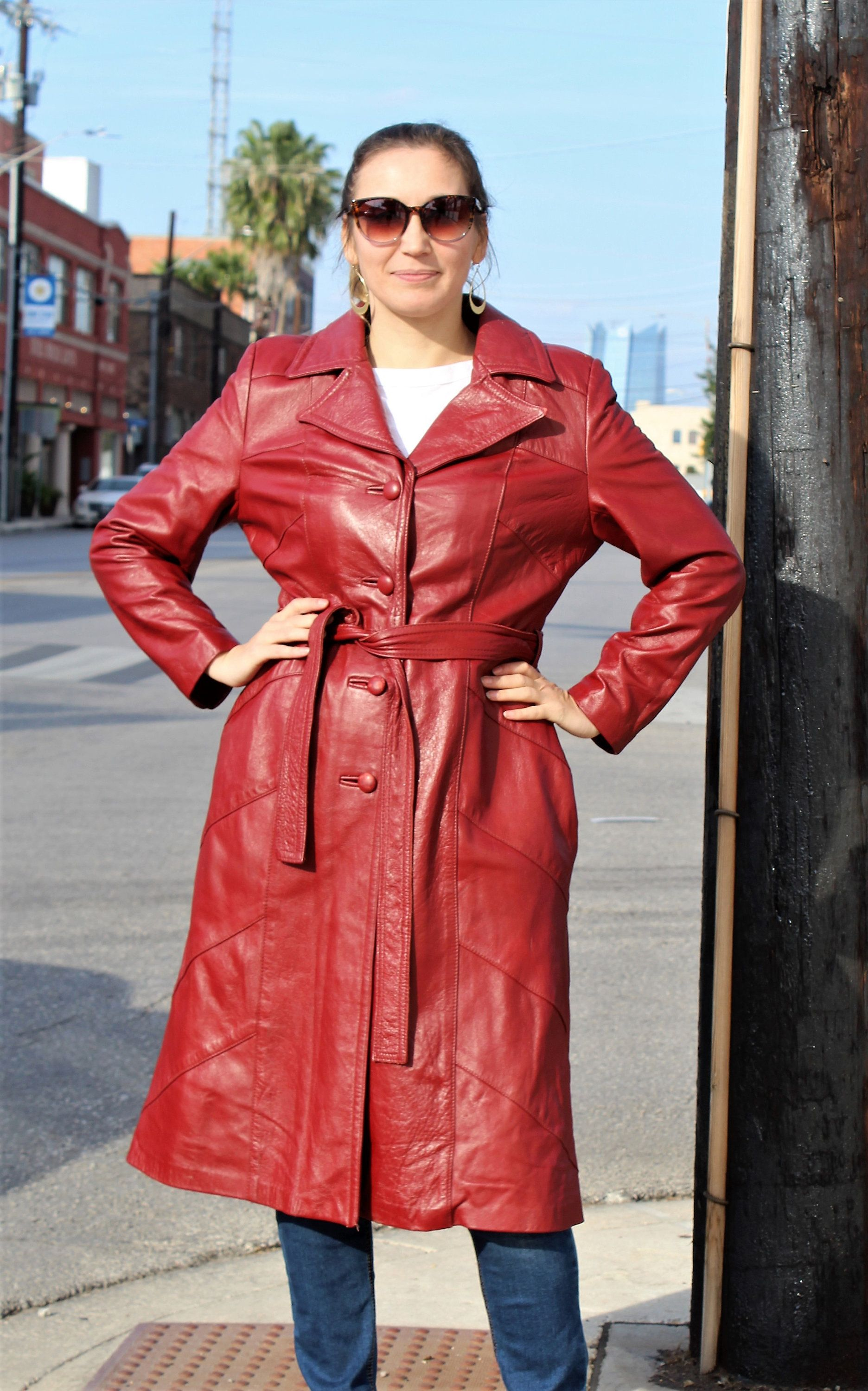 Midi Coat Women Coat With Pockets, Red Leather Coat