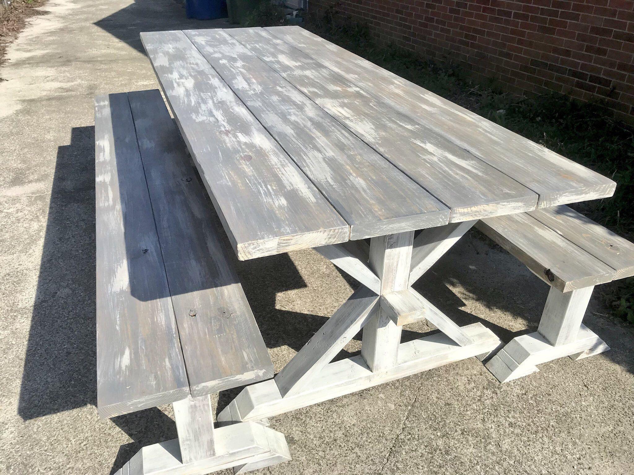 Sensational 8Ft Rustic Farmhouse Table With Long Benches Banquet Table Inzonedesignstudio Interior Chair Design Inzonedesignstudiocom