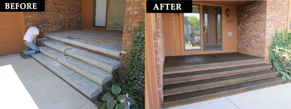 Idea For Front Stoop Love The Stained Concrete Color Patio