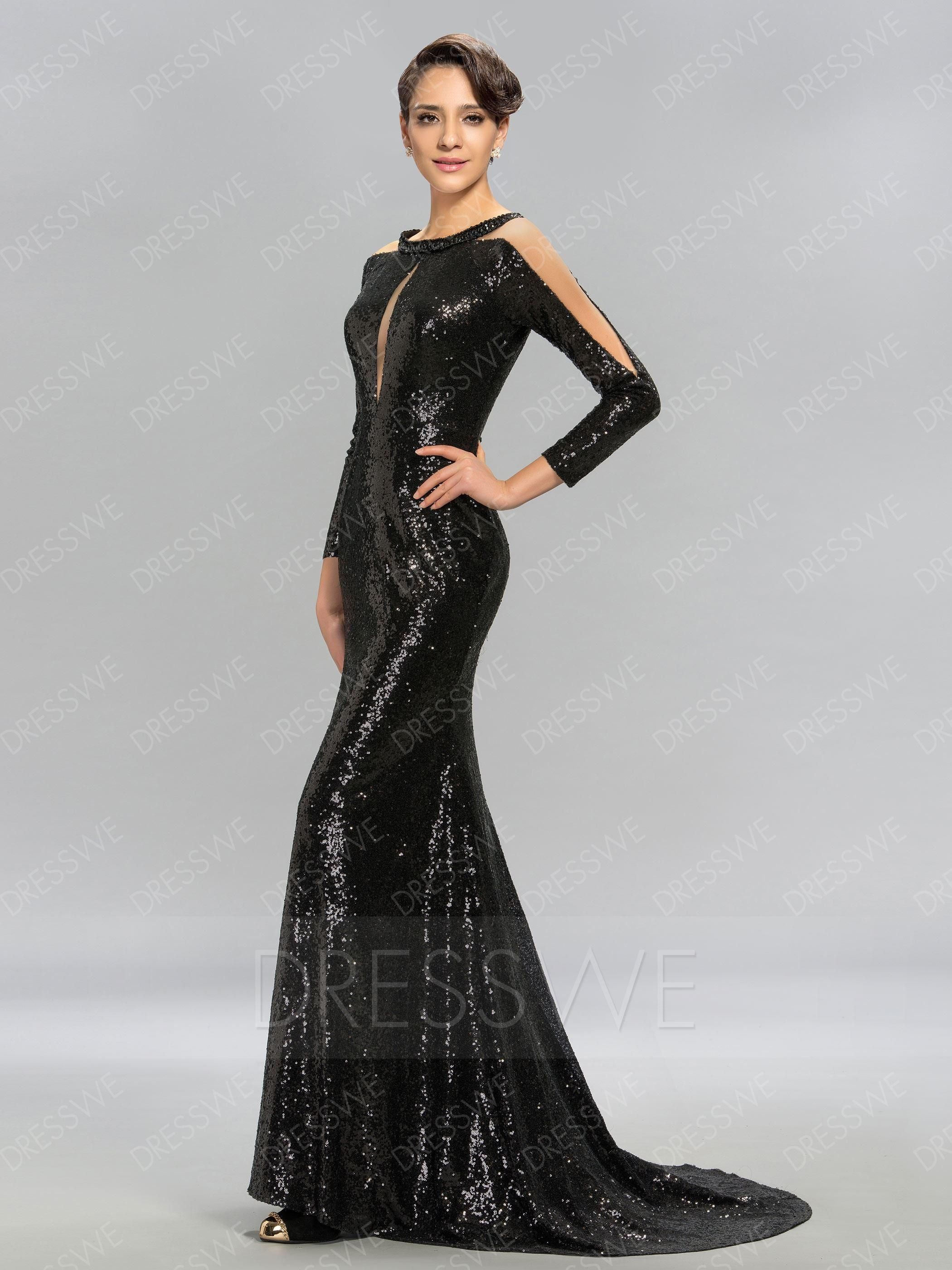 8007cf6ddd14 #Valentine's Day Sale! #AdoreWe #DressWe - #DressWe Long Sleeves Sequins  Evening Dress With Sweep/Brush Train - AdoreWe.com