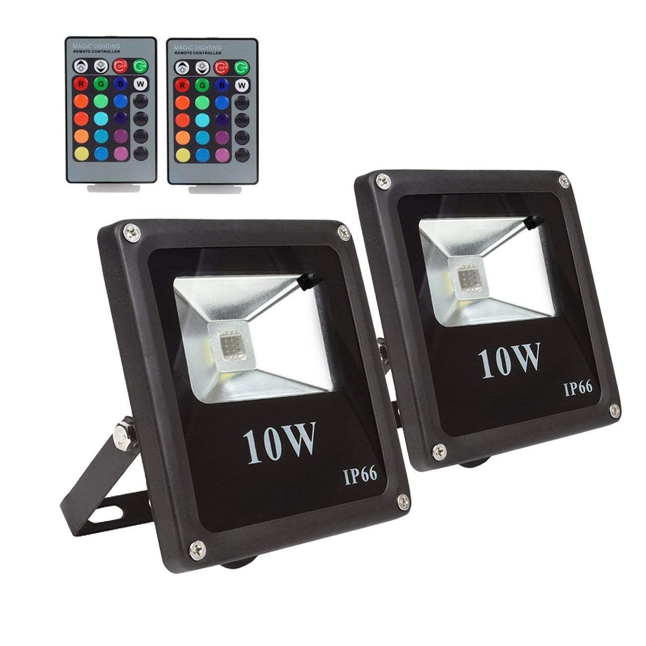 2 Pack Rgb Led Flood Lights Outdoor Color Changing Floodlight With Remote Control Ip66 Waterproof 16 Colors 4 Modes Led Flood Lights Led Flood Flood Lights