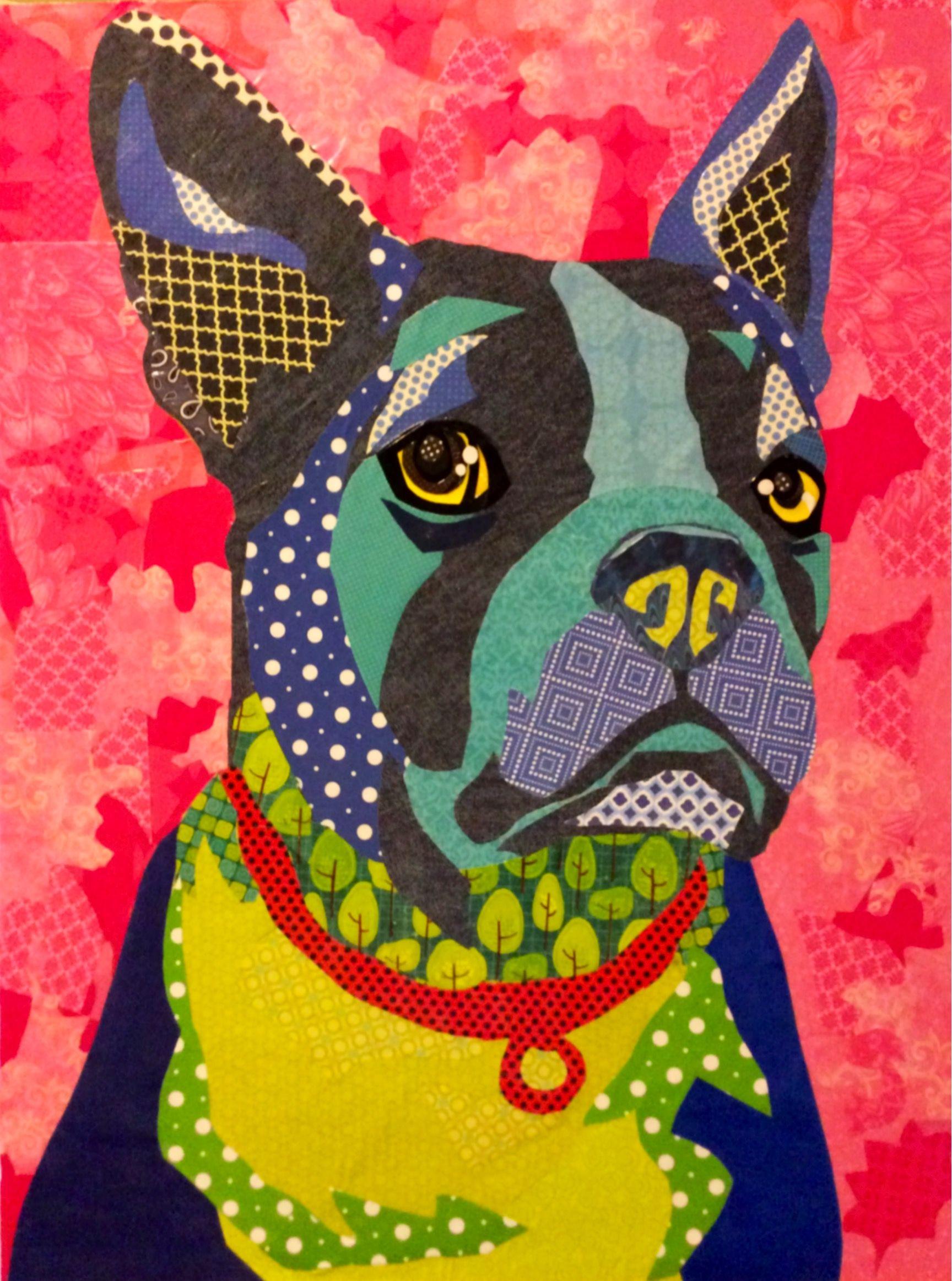 Scrapbook paper dogs - Scrapbook Paper Collage Art Boston Terrier Art Collage Art Dog Boston Blue