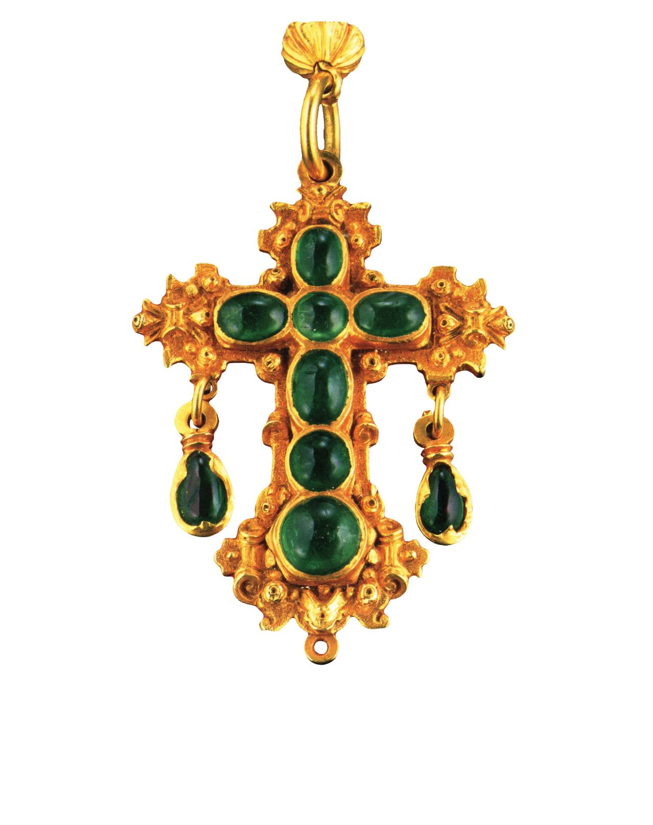 Emeraldset gold rosary th century colombia goldsmithing in