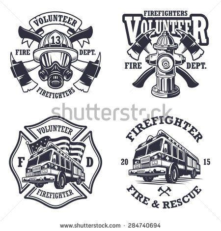 Set Of Firefighter Emblems Labels Badges And Logos On Light Background Monochrome Style Feuerwehr Logo Feuerwehr Abzeichen Feuerwehr Tattoo