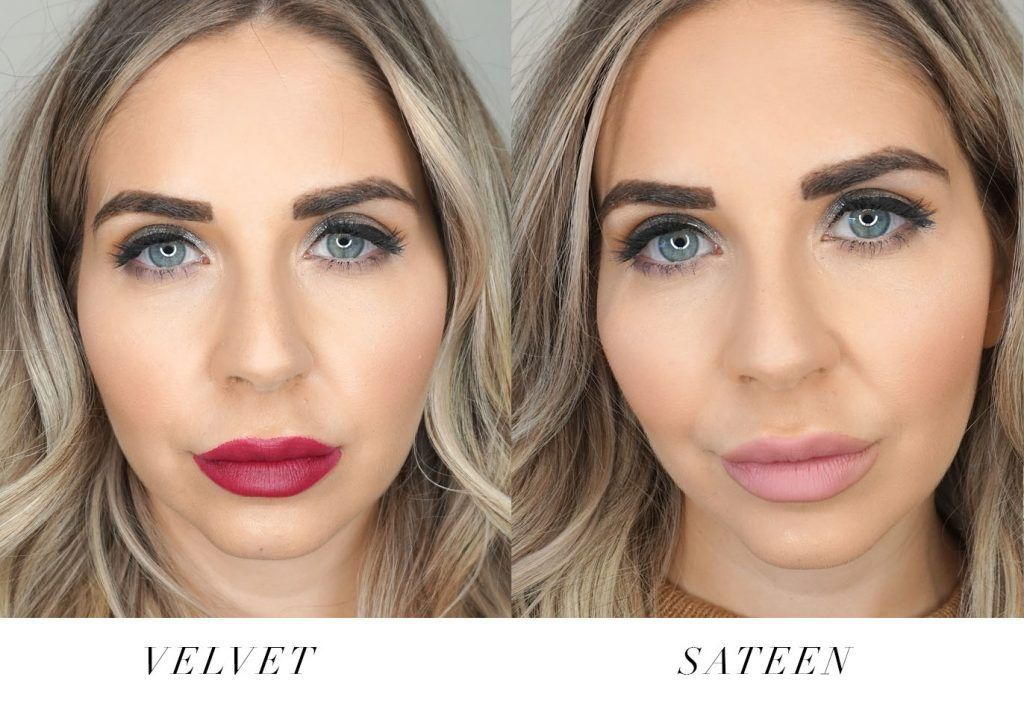Swatches of Bodyography Fabric Texture lipsticks in Sateen and Velvet -