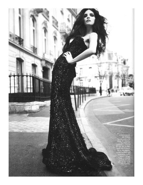 Elie saab photoshoot black and white black long dress