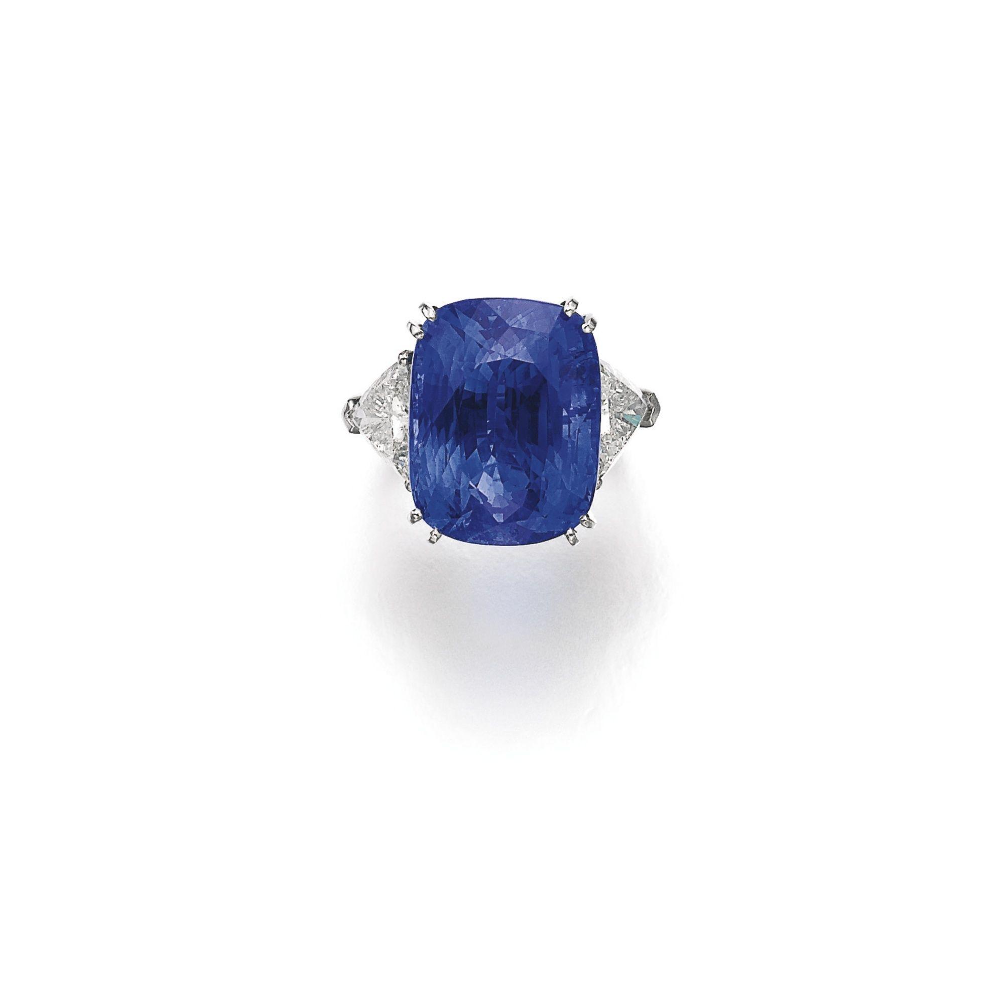 Sapphire And Diamond Ring Set With A Cushion Shaped Sapphire Weighing 36 13 Carats Ceylon Origin No Heat Between Triangular Indigo Jewelry Sapphire Rings