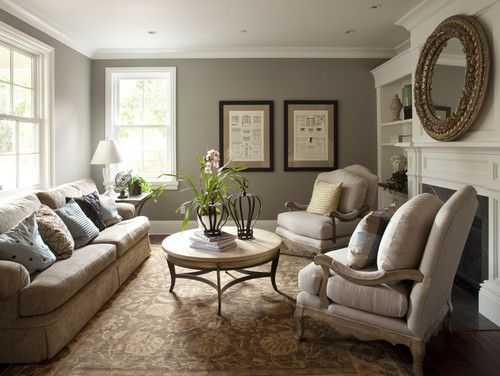 Traditional Living Room Cream Walls White Trim Design Pictures