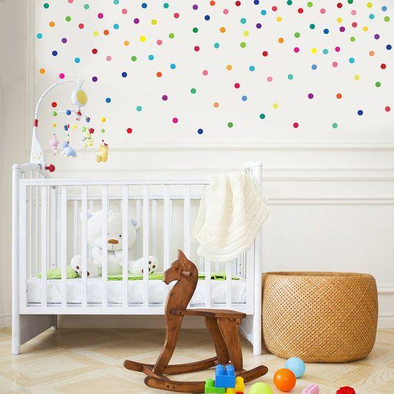 Fabric Wall Decals 121 Mini Rainbow Dots Confetti Polka Dots Wall