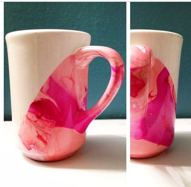 Diy marble mug with nail polish danielle 39 s pinterest for Crafts using nail polish