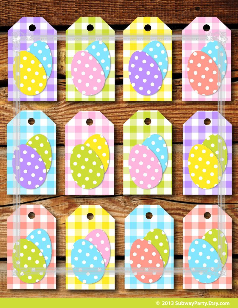 Printable easter gift tags pastel color gingham and easter eggs instant download printable easter gift tags diy in gingham pattern with fun polka dot easter eggs negle Images