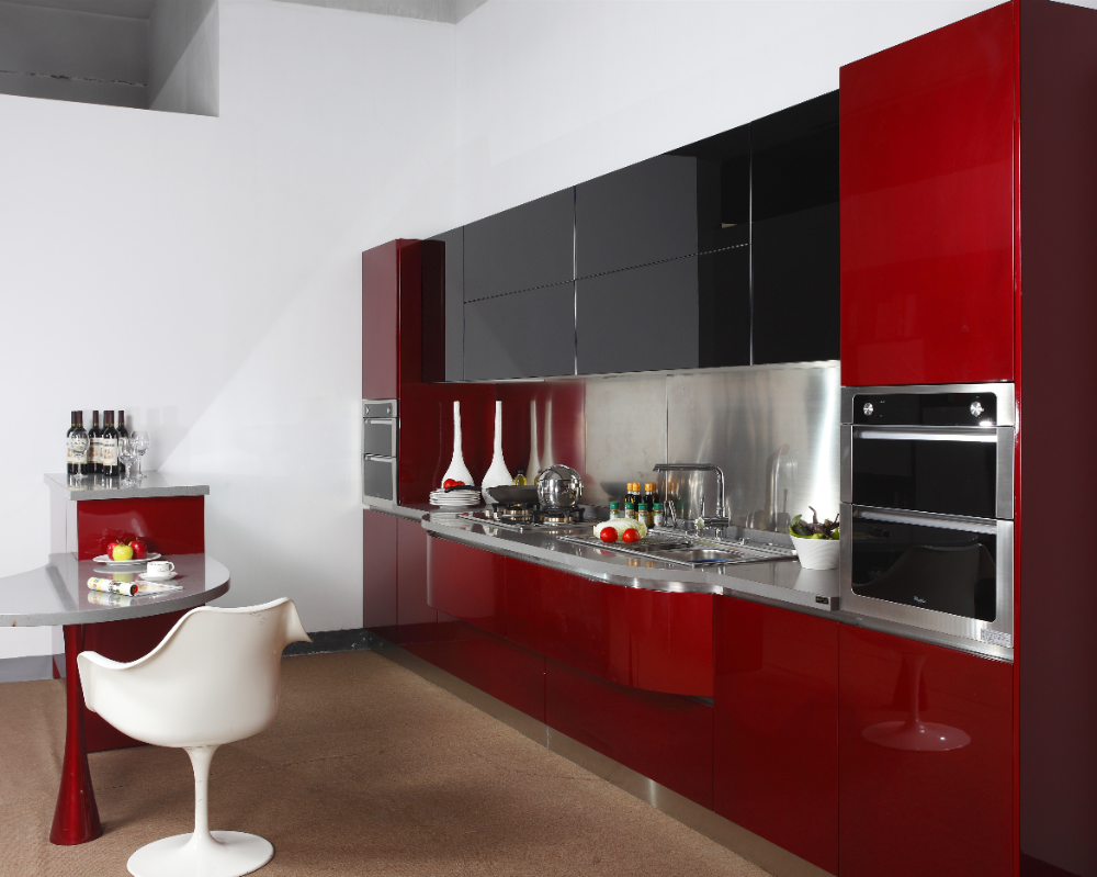 2019 New Red High Gloss Lacquer Kitchen Cabinet With Black Tempered Glass Doors Kitchen Cab Red Kitchen Cabinets Kitchen Wall Cabinets Rounded Kitchen Cabinets