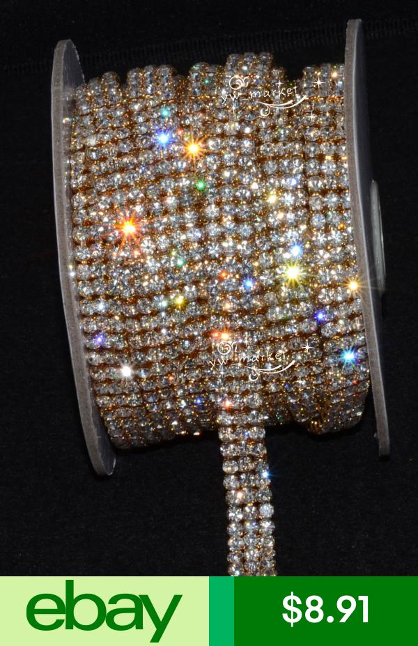 1Yard Pearl Rhinestone Chain Sew On Rhinestones Trimming For Garments Silver