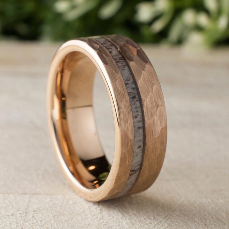 Deer Antler Hammered Rose Gold Tungsten Ring Mens Wedding Band Etsy Rose Gold Tungsten Ring Gold Tungsten Ring Rose Gold Tungsten