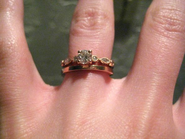 rose gold plain wedding band and pave engagement ring set Google