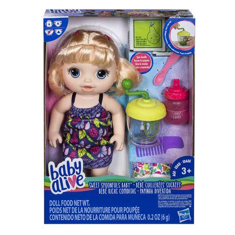 Baby Alive Sweet Spoonfuls Blonde Baby Doll Girl Walmart Canada Baby Alive Food Blonde Babies Baby Deals